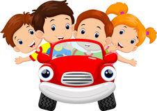 Cartoon Kids Driving Car Stock Vector.