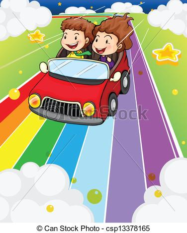 Clip Art Vector of Two kids riding in a red car.