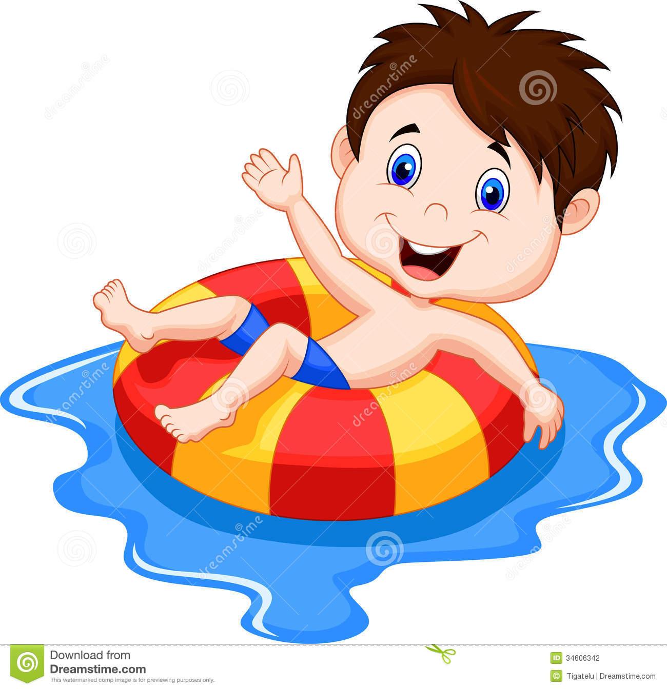 Cartoon Kids Swimming Pool Clipart.
