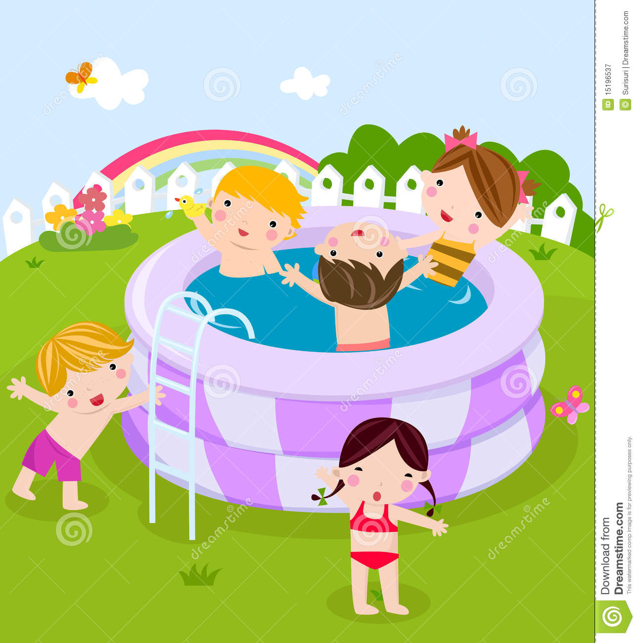 Kids In Swimming Pool Clipart.