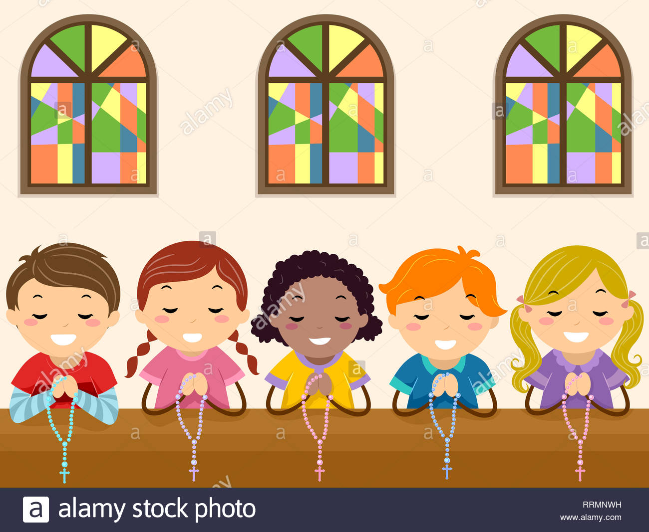 Illustration of Stickman Kids Kneeling and Praying the Rosary in.