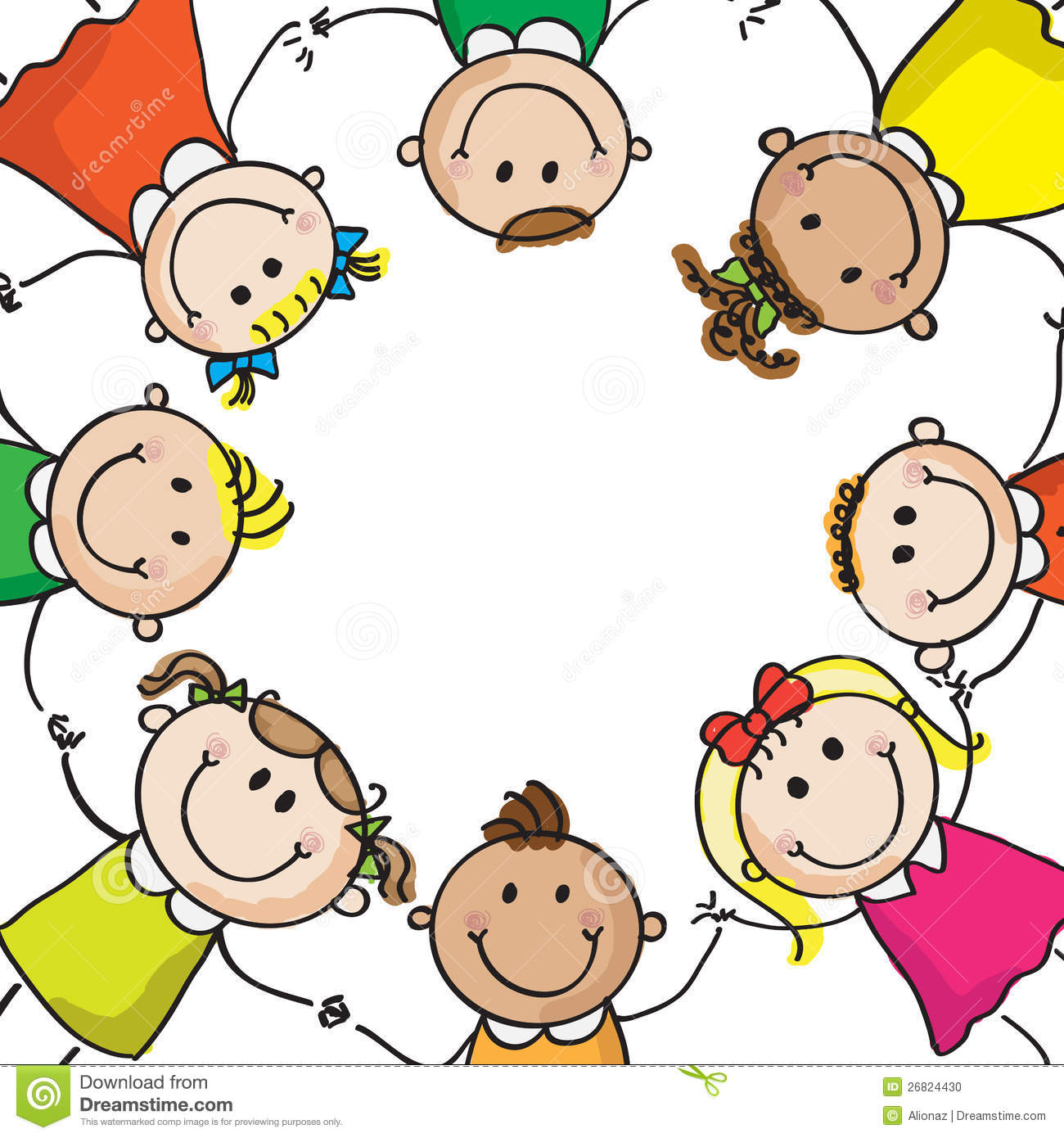 Kids Holding Hands In A Circle Clipart.