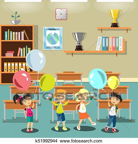 Kids in a classroom Clipart.