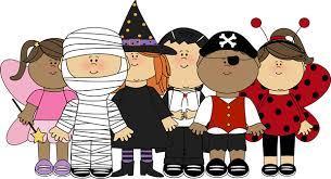 halloween kids in costume clipart.
