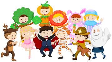 Kids in halloween costumes.