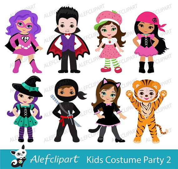Kids Costume Party digital clipart / Cute Halloween costume.