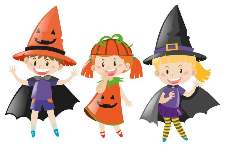 Three kids in halloween costume.