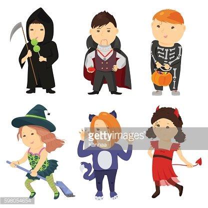 Cute cartoon kids in halloween costumes Clipart Image.