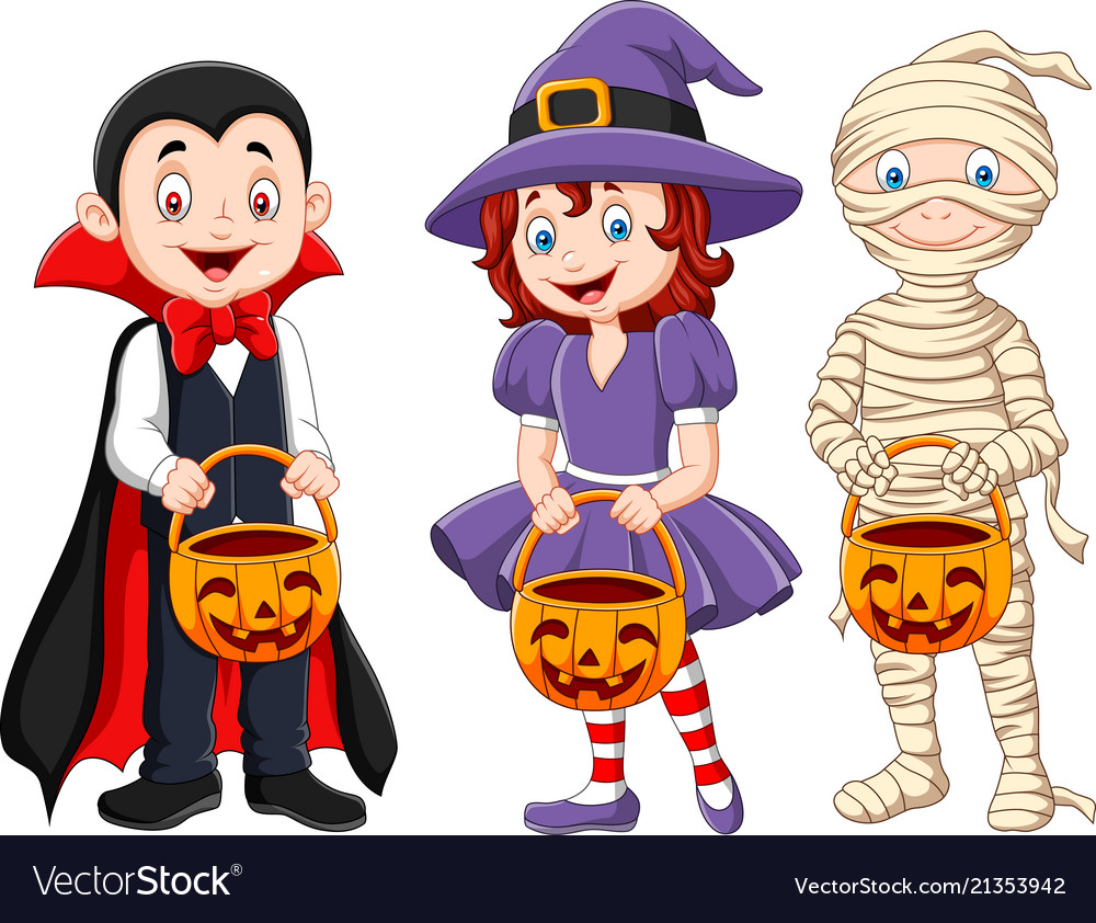Cartoon kids with halloween costume holding pumpki vector image.