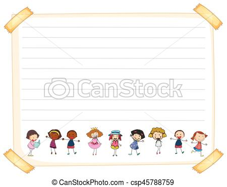 Line paper template with happy kids.