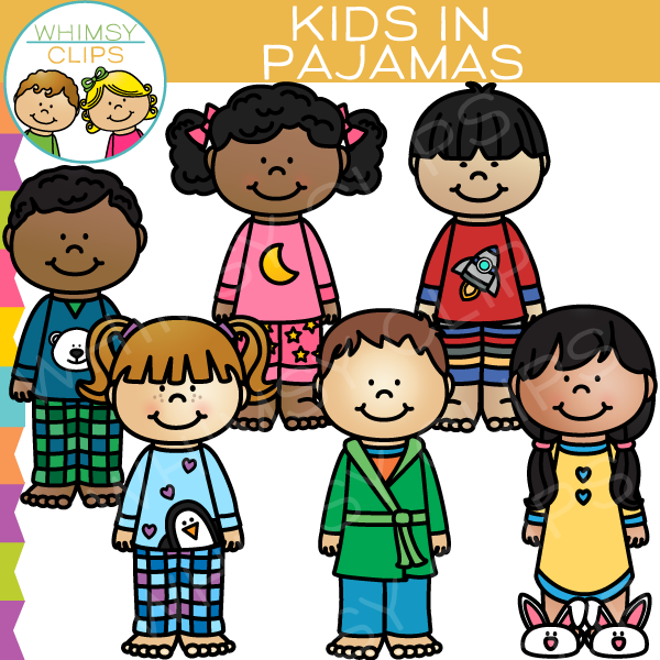 Kids in Pajamas Clip Art.