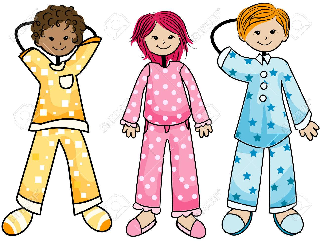Pajama Kids with Clipping Path.
