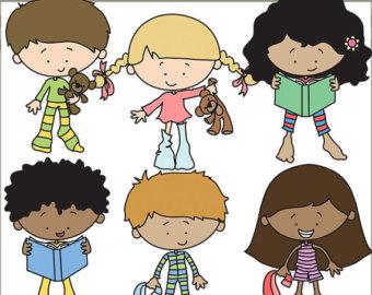 Children In Pajamas Clipart.