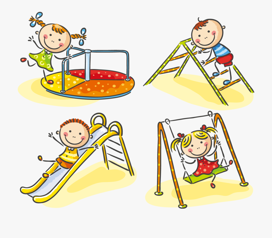 Children Playing On Playground Clipart.