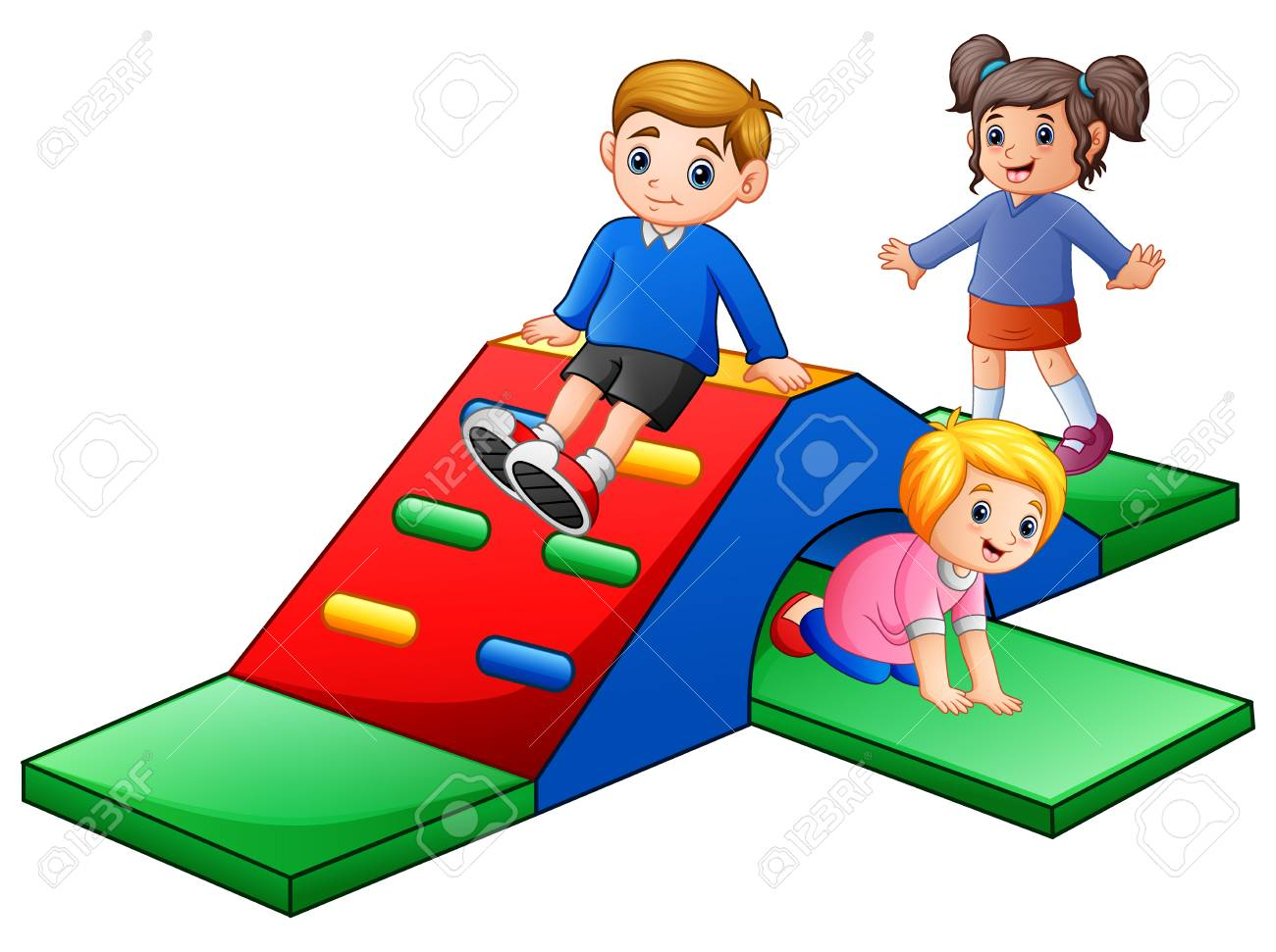 Vector illustration of Happy kids playing in the playground..