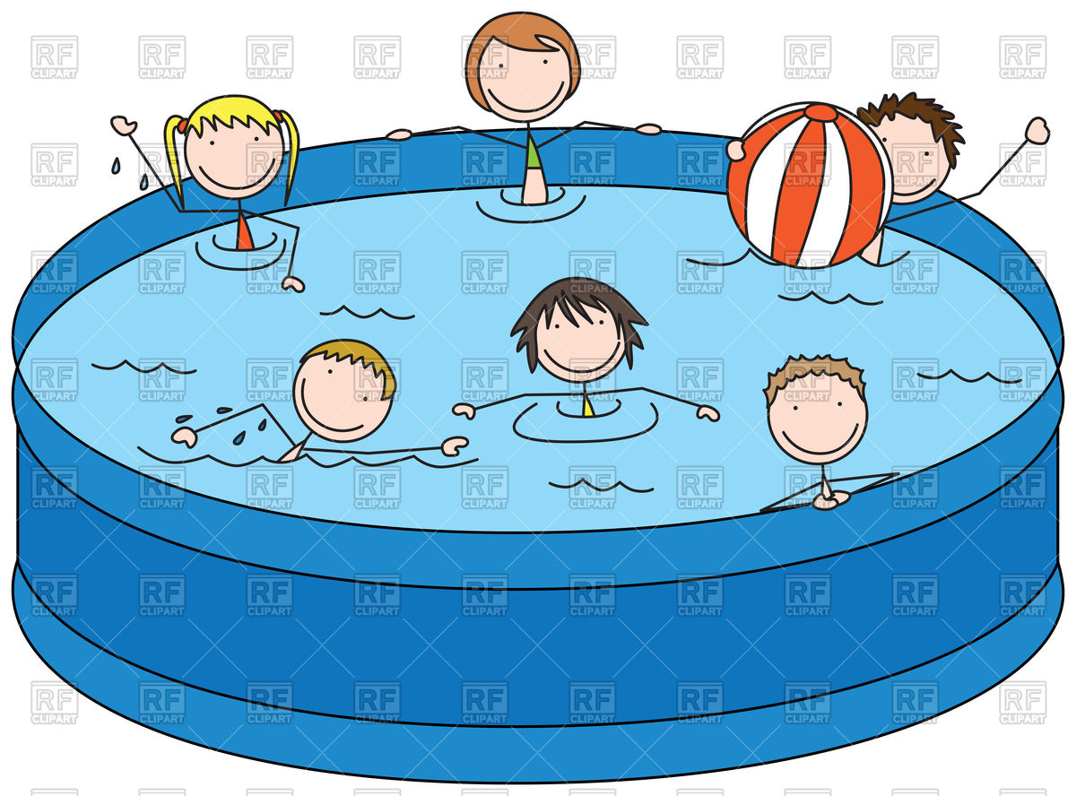 Happy kids in a pool Stock Vector Image.