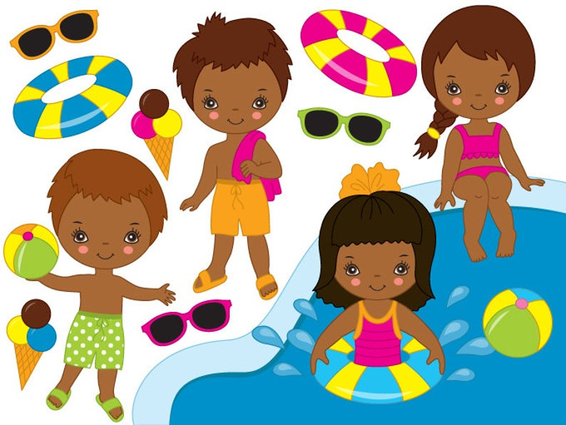 African American Pool Party Kids Clipart.