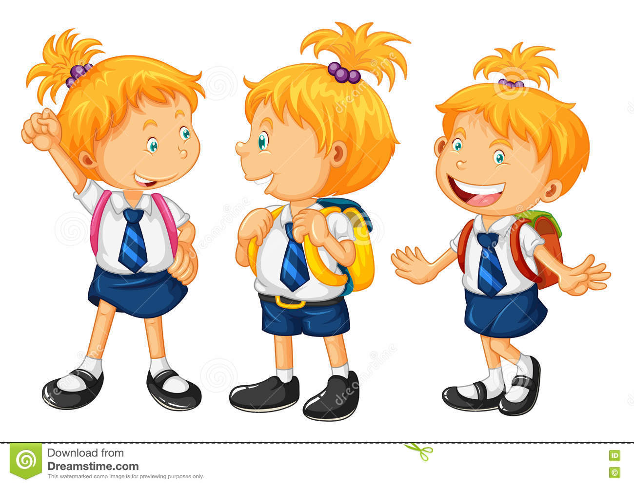 Kids In School Uniform Stock Vector.