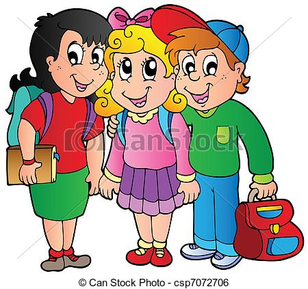 Clip Art Vector of Three happy school kids.