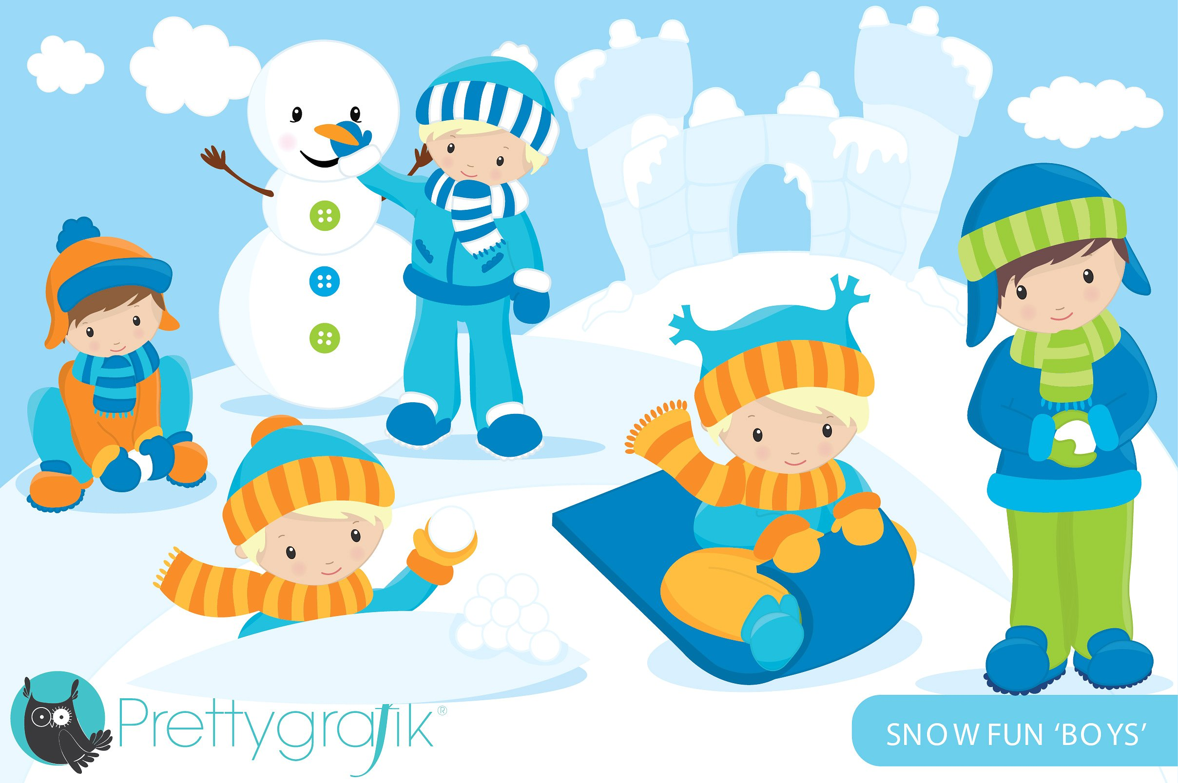 Playing In The Snow Clipart.