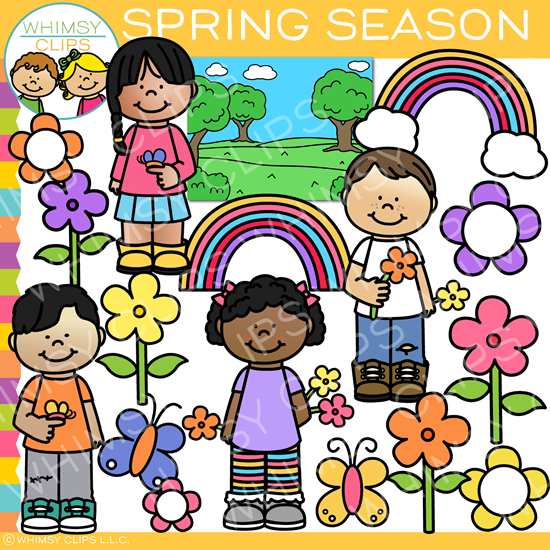Spring Season Kids Clip Art.