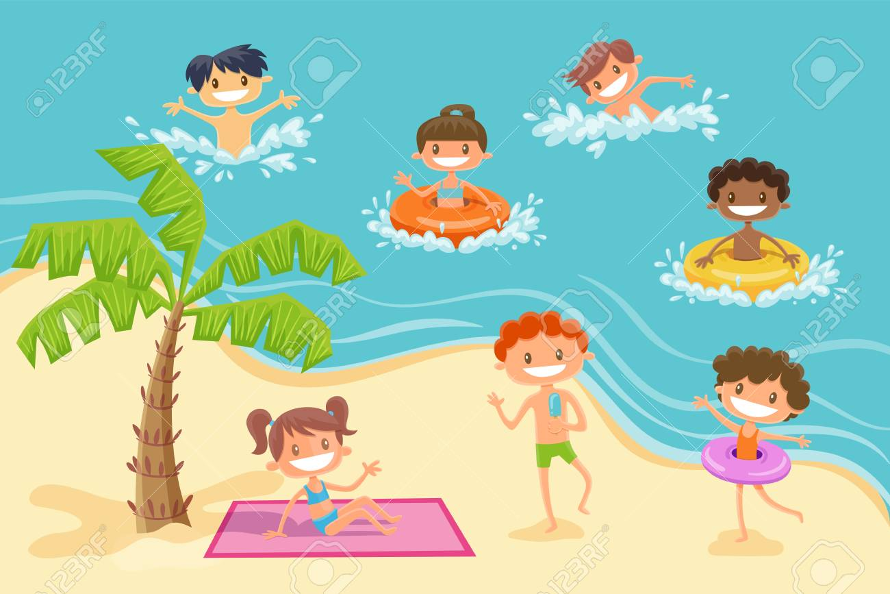 Kids Playing Summer Clipart.