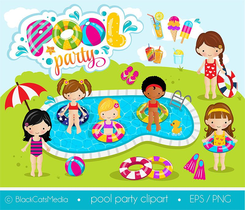 Girls pool party clipart , pool clipart, pool party digital.