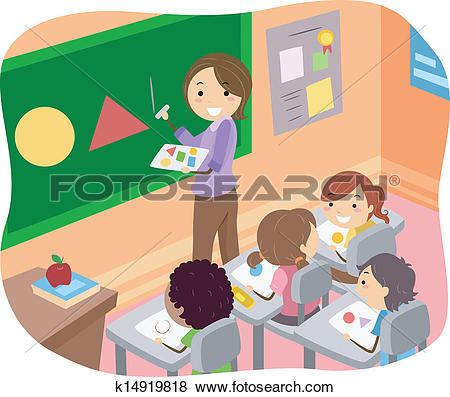 Clipart of Stick Kids in Classroom k13048514.
