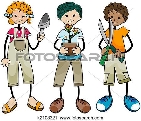 Clip Art of Gardening Kids k2108322.