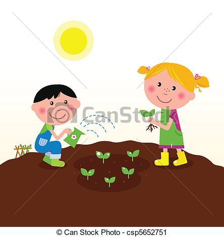 Vector Clip Art of Children planting plants in garden.