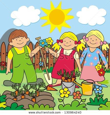 Children Gardening Stock Vectors, Images & Vector Art.