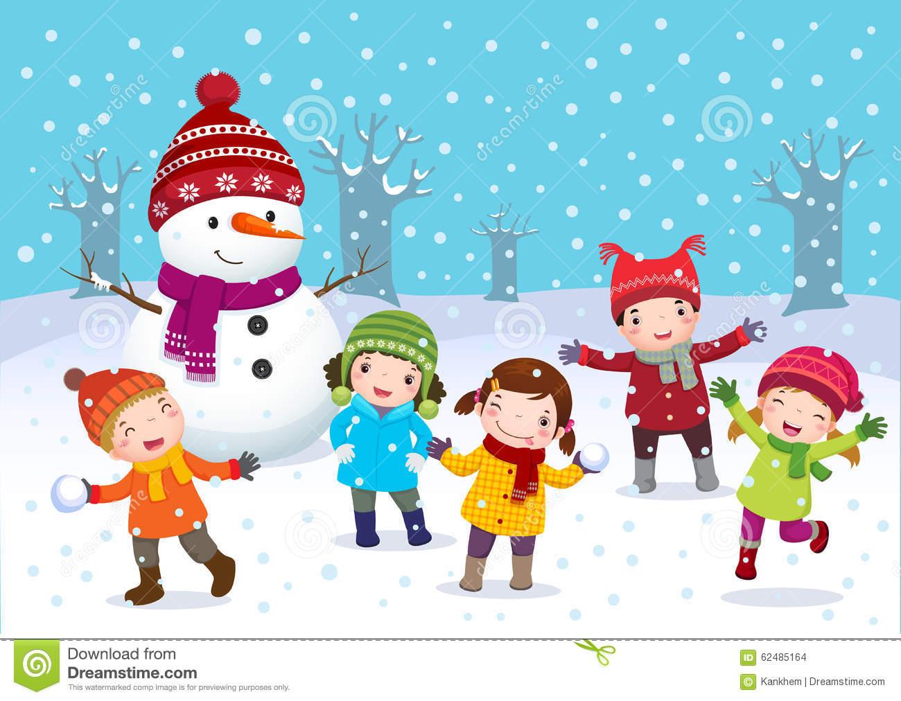 Kinder Im Winter Clipart.