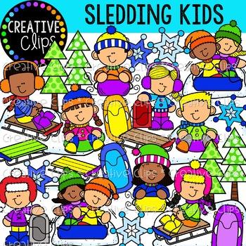 Sledding Kids Clipart {Winter Clipart}.