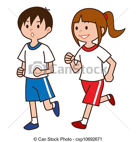 Kids Jogging Clipart.