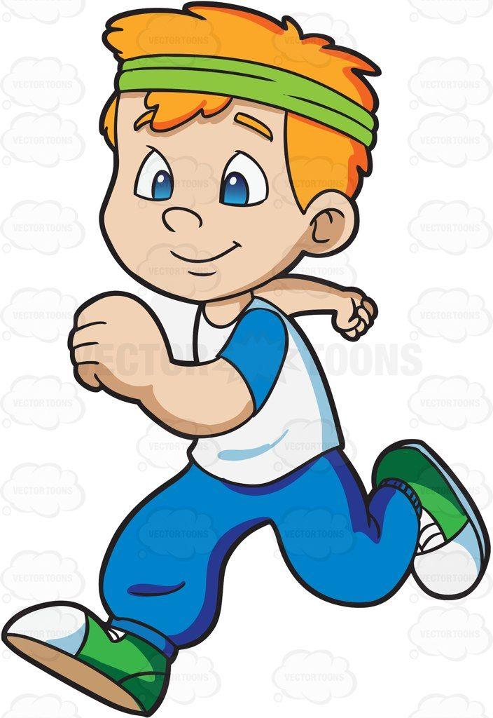 A boy jogging happily.