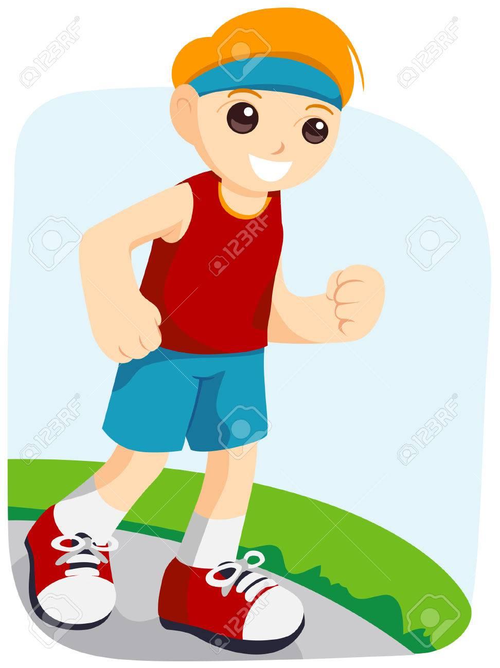 Boy Jogging Clipart.