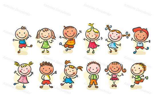 Happy cartoon sketchy kids jumping or dancing. Children clip art, kids clip  art, kids svg, doodle clip art, happy kids clip art, doodle svg.