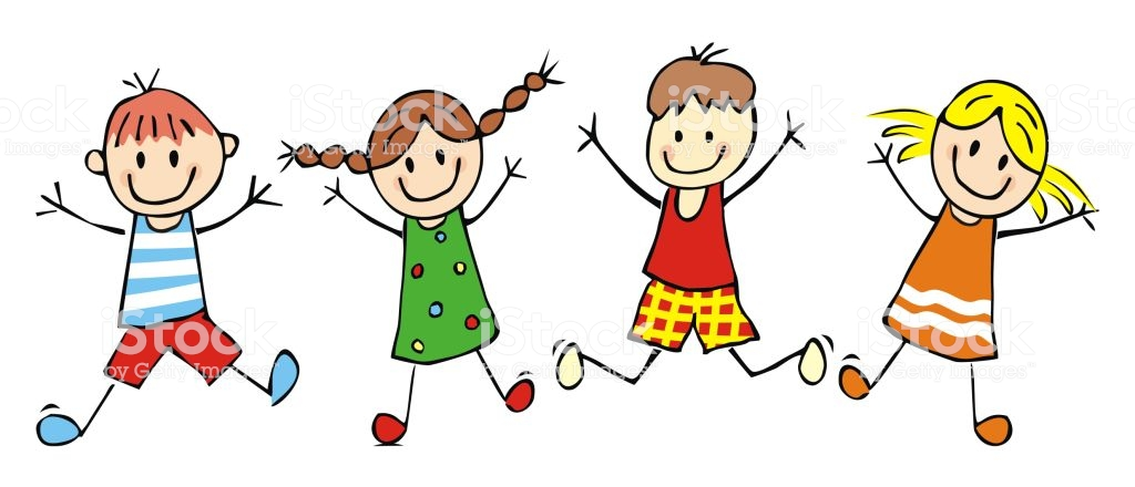 Happy Kids Jumping Girls And Boys Funny Vector Illustration Stock.