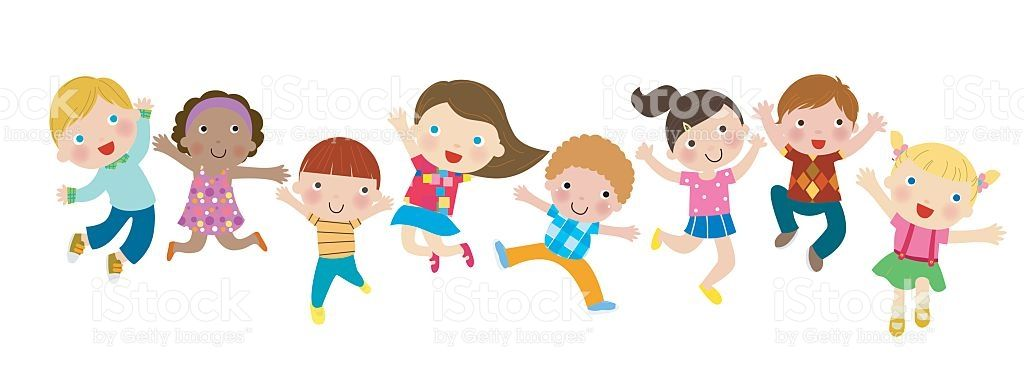 Group of Children Jumping.