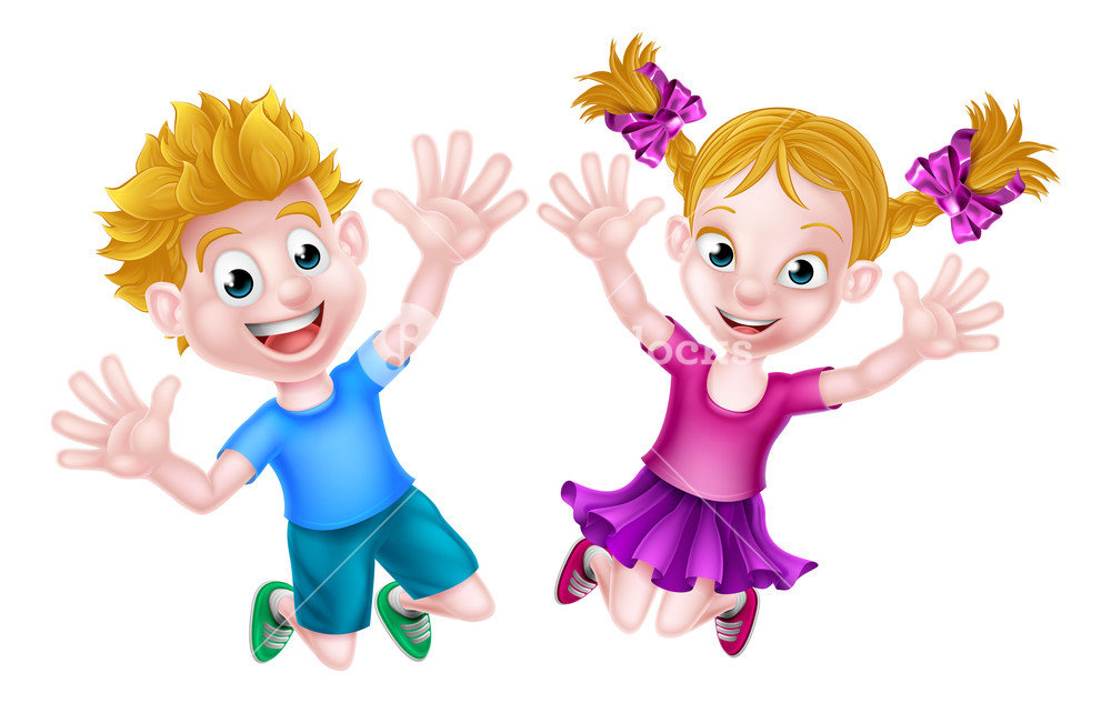 Cartoon young boy and girl kids jumping for joy with hands in the.