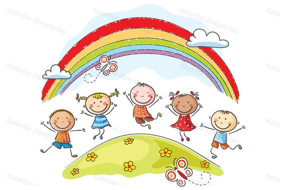 Kids jumping with joy on a hill underneath a rainbow. Kids clipart, kids  svg, children clipart.