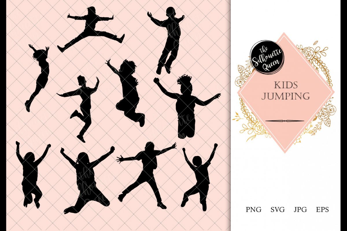 Kids Jumping Silhouette, Kids Jumping Clipart, SVG, cut file.