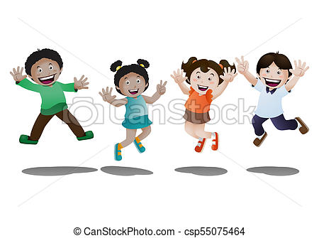 happy kids jumping in happiness on isolated white background.