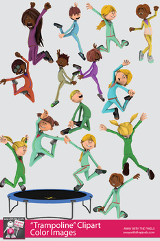 Trampoline Kids Jumping Clipart, Fitness PE Clipart.