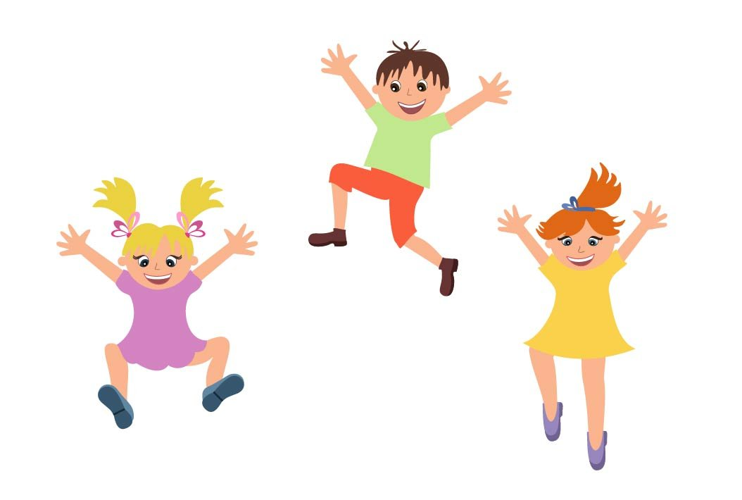 Happy kids jumping isolated.