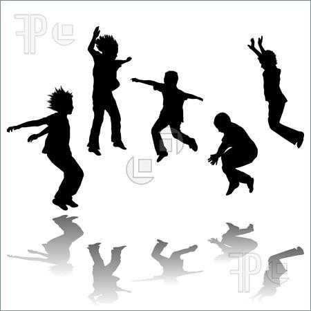 Kids Jumping Black And White Explorer Clipart.