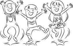 Kids Jumping Clipart Black And White.