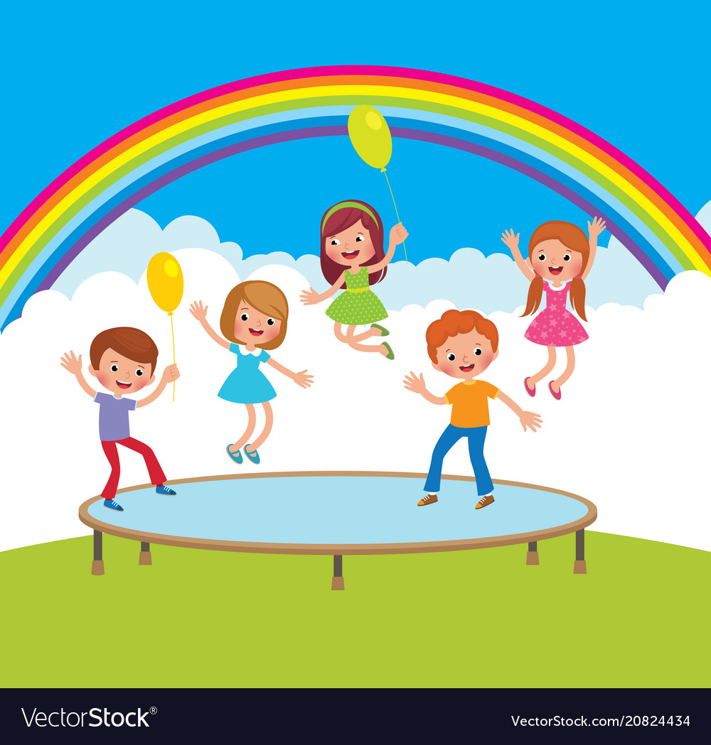 Group of happy children jumping on the trampoline.