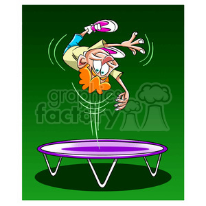 kid jumping on a trampoline clipart. Royalty.