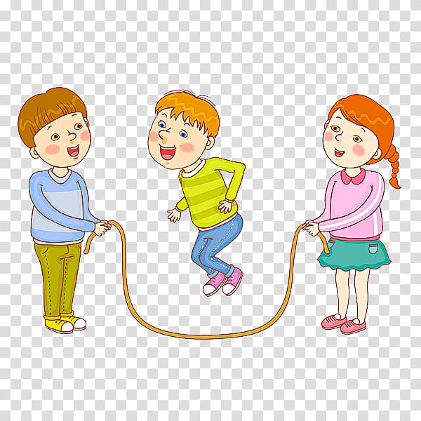 Three children playing jumping rope illustration, Skipping.